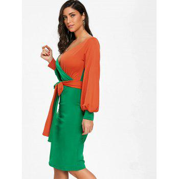 Color Block Surplice Neck Belted Bodycon Dress - GREEN M