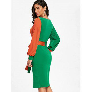 Color Block Surplice Neck Belted Bodycon Dress - GREEN L