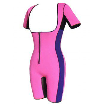 Zipper Plus Size Gym Sauna Full Body Shaper - HOT PINK 3XL