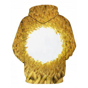 Pocket 3D Bananas Printed Hoodie - YELLOW 2XL