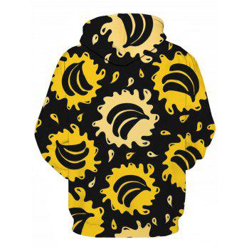 Bananas Splatter Pattern Pullover Hoodie - COLORMIX L