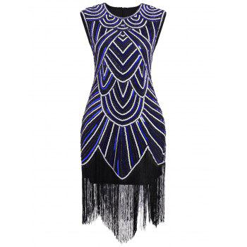 Sequined Fringe Midi Bodycon Dress - BLUE/WHITE 2XL