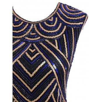 Sequined Fringe Midi Bodycon Dress - BLUE/GOLDEN XL