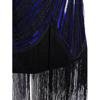 Sequined Fringe Midi Bodycon Dress - CERULEAN XL