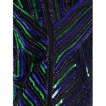 Sequined Fringe Midi Bodycon Dress - BLUE/GREEN S
