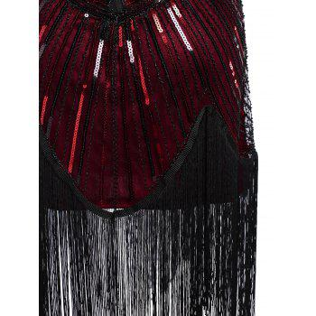 Sequined Fringe Midi Bodycon Dress - DEEP RED 2XL