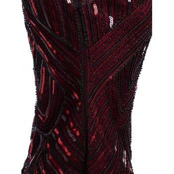 Sequined Fringe Midi Bodycon Dress - DEEP RED XL