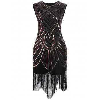 Sequined Fringe Midi Bodycon Dress - RED / GOLDEN 2XL