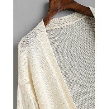 Flowy Long Sleeve Knitted Cover Up - OFF WHITE ONE SIZE