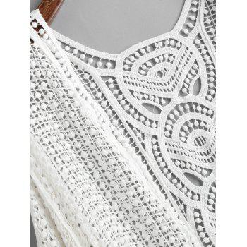 Crochet Batwing Sleeve Beach Cover Up - WHITE ONE SIZE