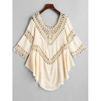 Scoop Neck Crochet Panel Cover Up Top - OFF WHITE ONE SIZE