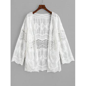 Long Sleeves Sheer Embroidery Cover Up - WHITE ONE SIZE