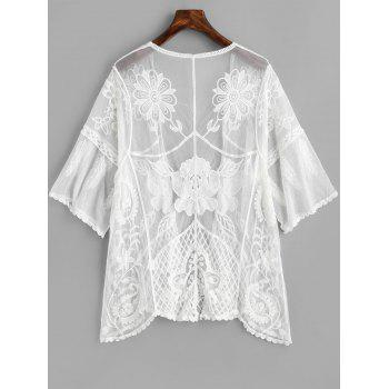 Embroidery Sheer Mesh Cover Up - WHITE ONE SIZE