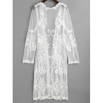 Mesh Embroidered Beach Cover Up - WHITE ONE SIZE