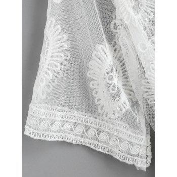 Tie Up Lace Sheer Cover Up - WHITE ONE SIZE