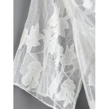 Fringe Sheer Lace Cover Up - Blanc ONE SIZE