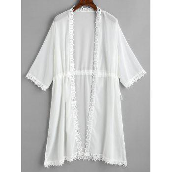 Drawstring Crochet Trimmed Sheer Cover Up - Blanc ONE SIZE