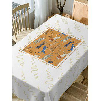 Waterproof Animal Zoo Print Dining Table Cloth - WHITE W54 INCH * L54 INCH