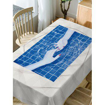 Hand In Hand Print Waterproof Table Cloth - BLUE W54 INCH * L54 INCH