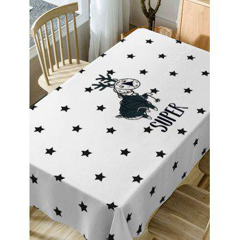 Deer and Stars Print Waterproof Table Cloth - WHITE W60 INCH * L84 INCH