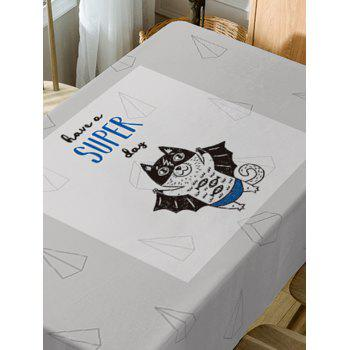 Waterproof Cat with Wing Letter Print Table Cloth - GRAY W60 INCH * L84 INCH