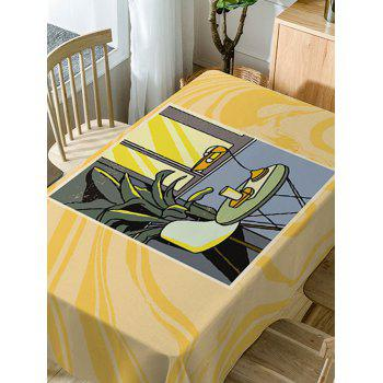 A Table Near Window Print Dining Tabel Cloth - YELLOW W54 INCH * L72 INCH