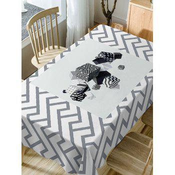 Cube Print Waterproof Table Cloth - WHITE W60 INCH * L84 INCH