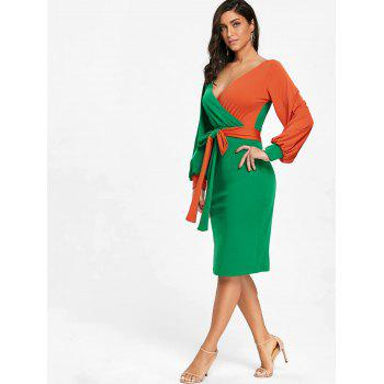 Color Block Surplice Neck Belted Bodycon Dress - GREEN 2XL