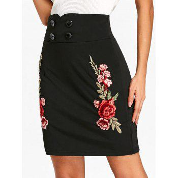 Flower Embroidered Applique High Waist Skirt - BLACK M
