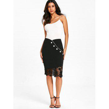 Lace Trim High Waist Sheath Skirt with Button - BLACK S