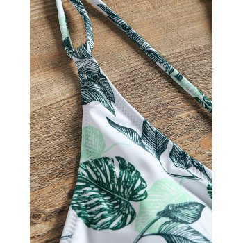 One Piece Leaf Print Crisscross Swimwear - GREEN M