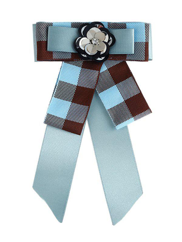 Floral Checked Pattern Bow Collar Brooch - LAKE BLUE
