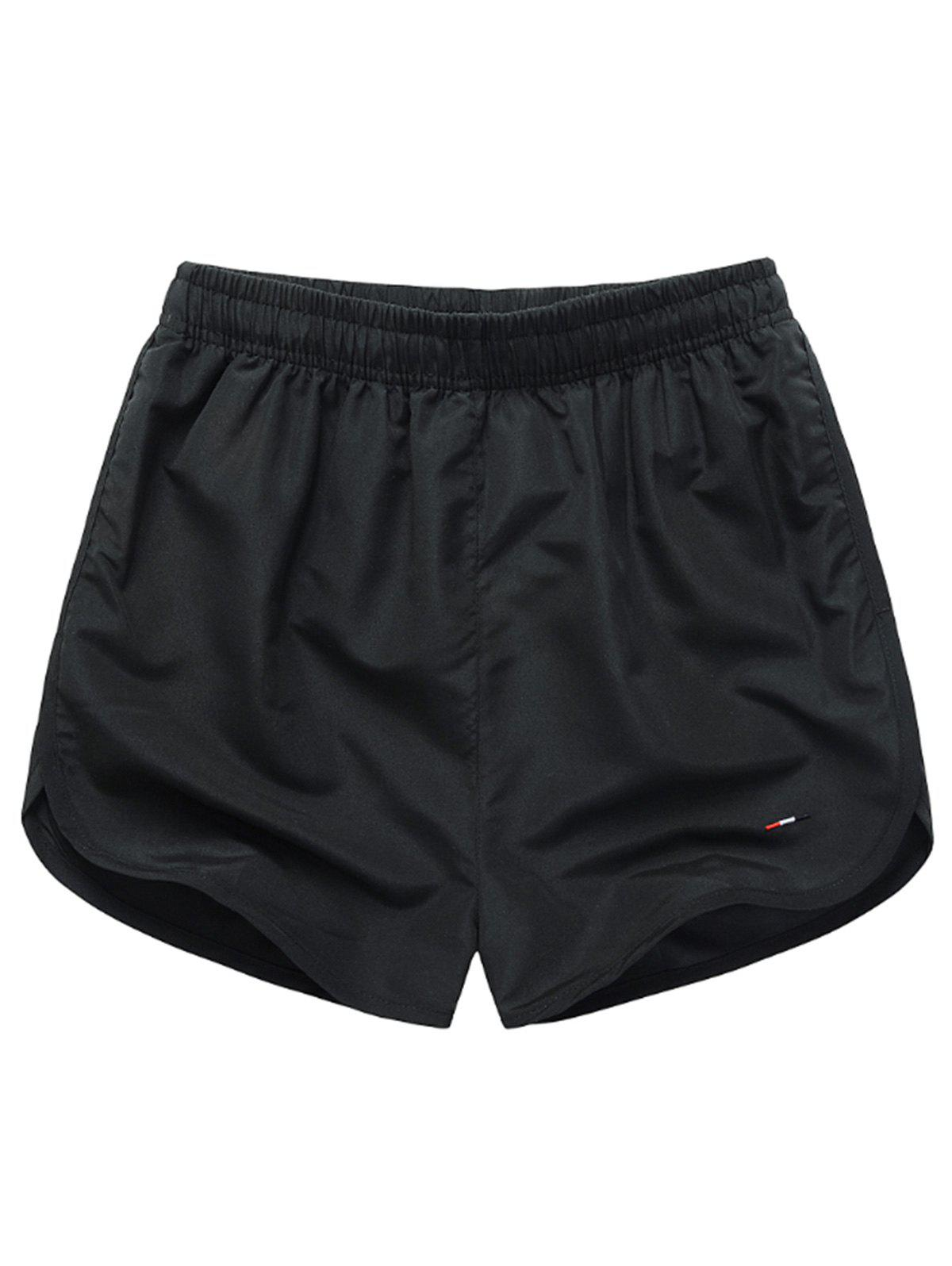 Mesh Lined Dolphin Hem Beach Shorts - BLACK 2XL
