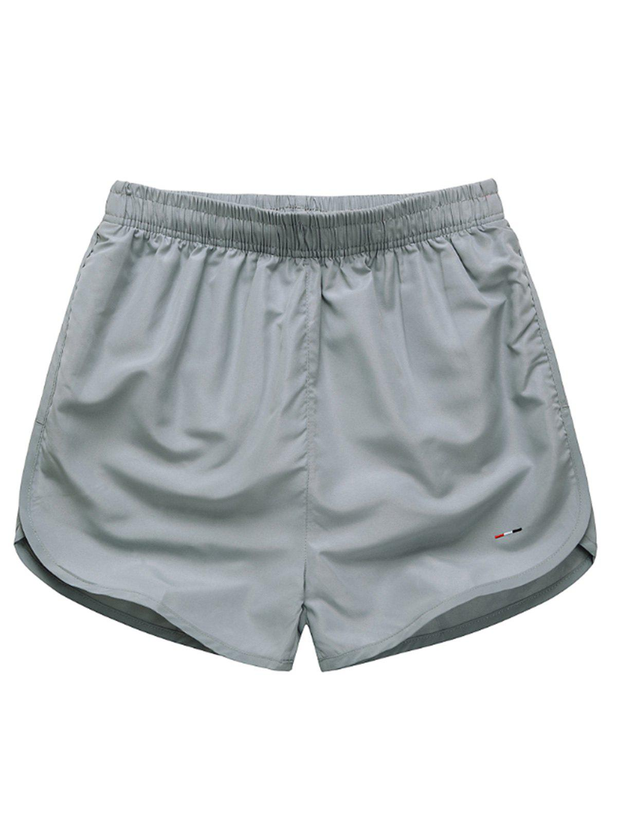 Mesh Lined Dolphin Hem Beach Shorts - GRAY XL