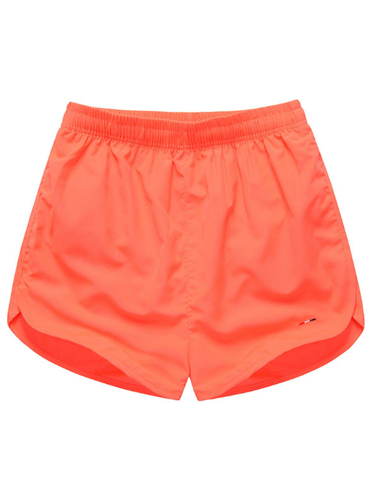 Mesh Lined Dolphin Hem Beach Shorts - WATERMELON RED XL