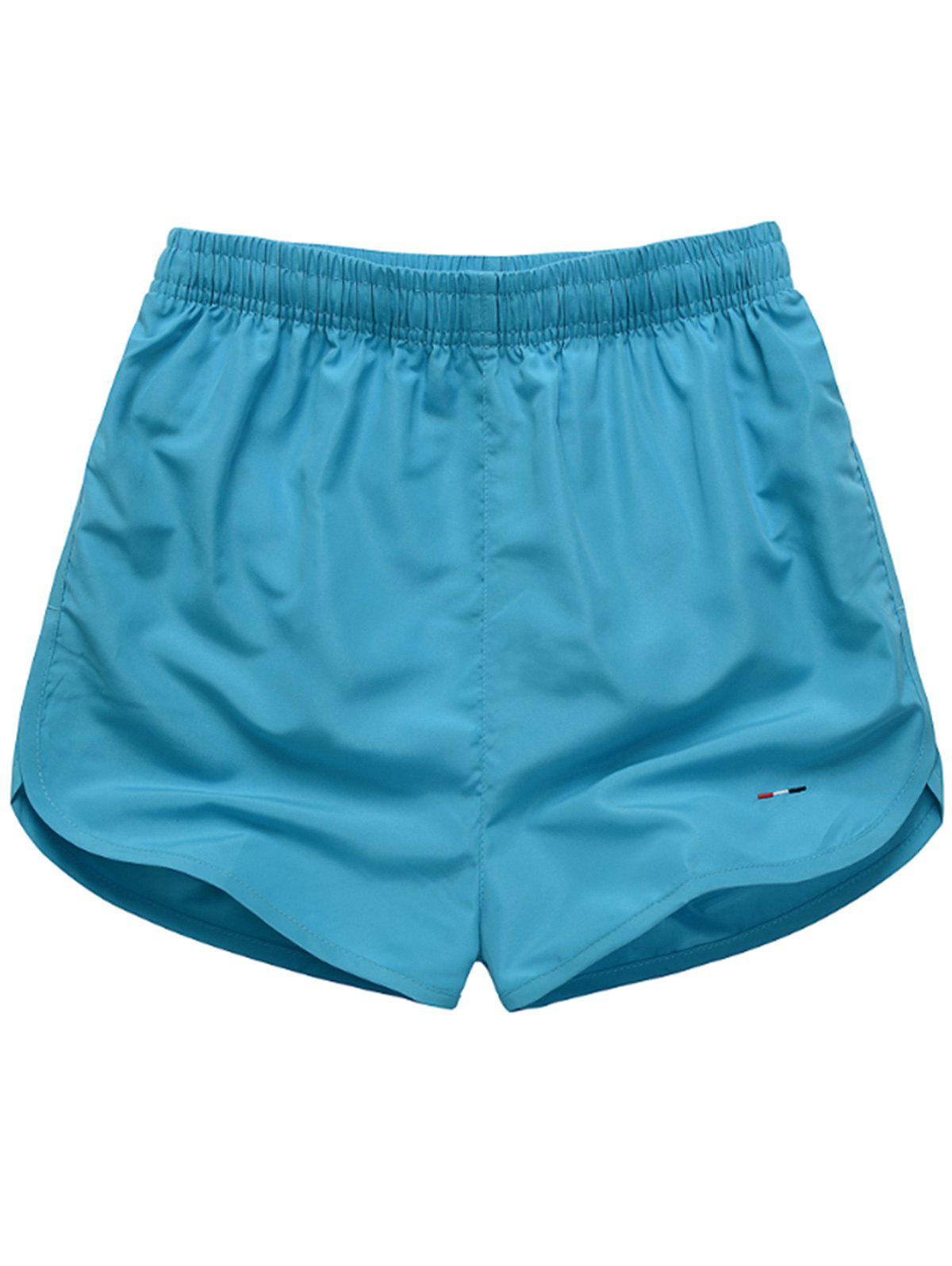 Mesh Lined Dolphin Hem Beach Shorts - LAKE BLUE 2XL