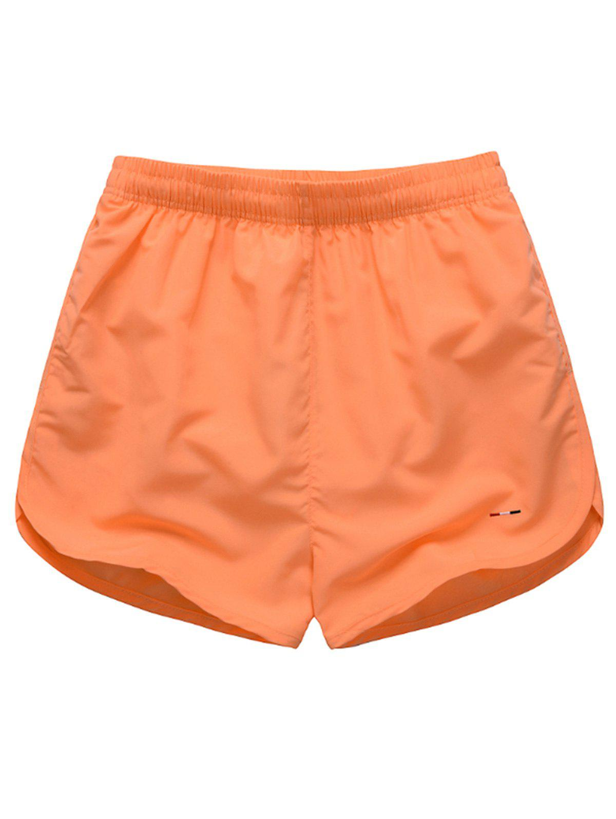 Mesh Lined Dolphin Hem Beach Shorts - ORANGE RED 2XL
