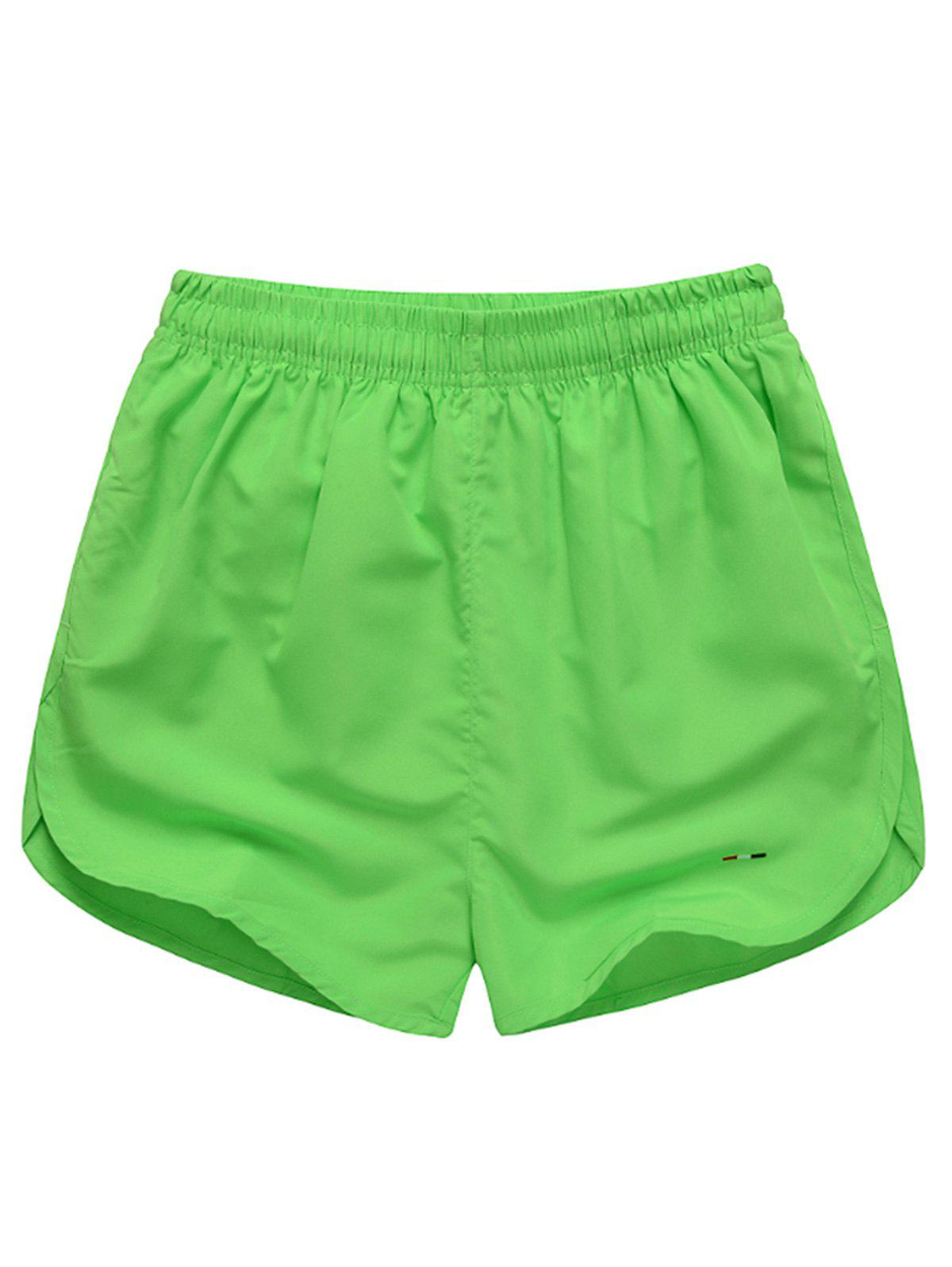 Mesh Lined Dolphin Hem Beach Shorts - LIGHT GREEN 2XL