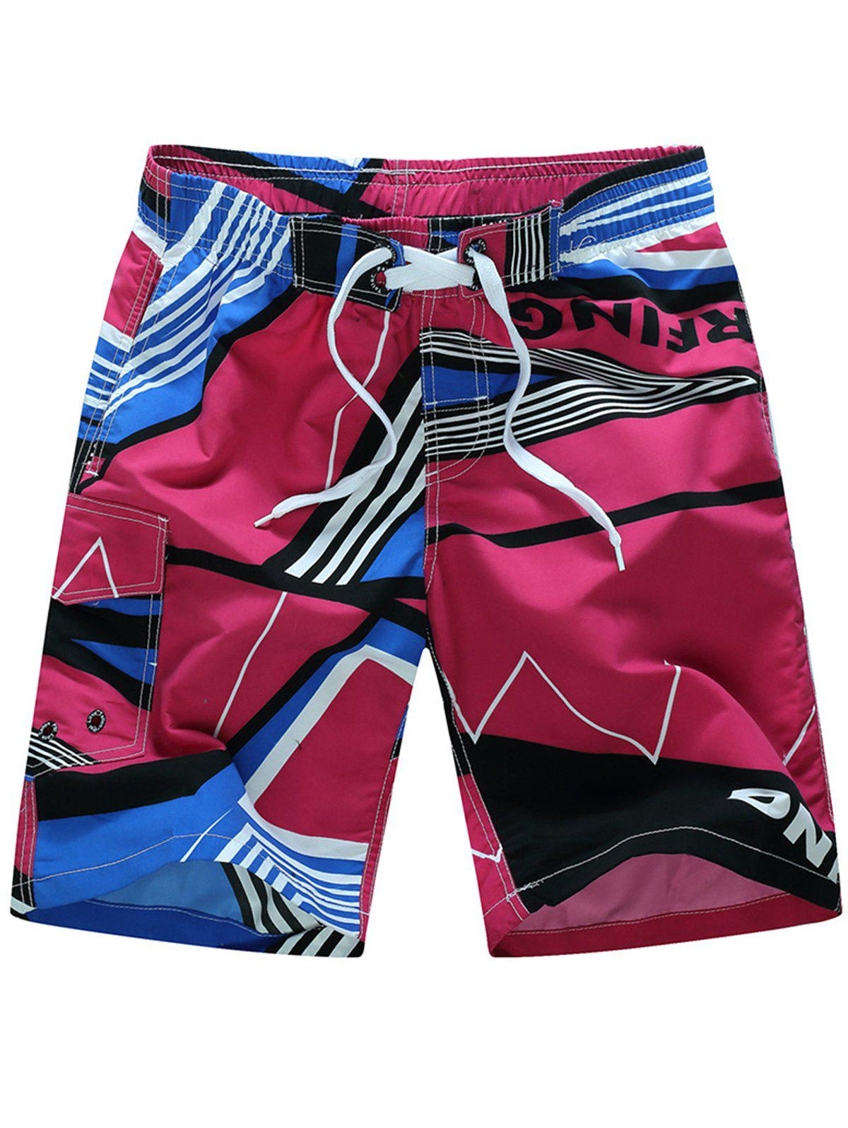 Color Splicing Sports Beach Shorts - RED 4XL
