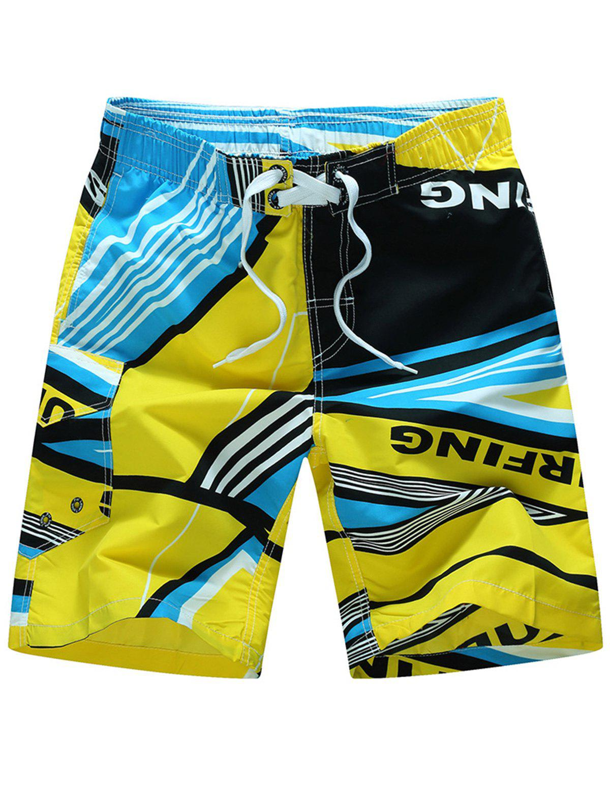 Color Splicing Sports Beach Shorts - YELLOW XL