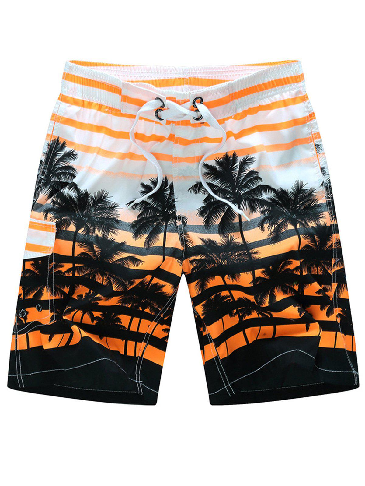 Plam Tree Striped Hawaiian Shorts - ORANGE RED 2XL