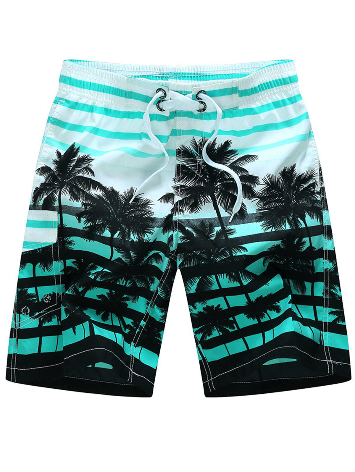 Plam Tree Striped Hawaiian Shorts - GREEN 2XL