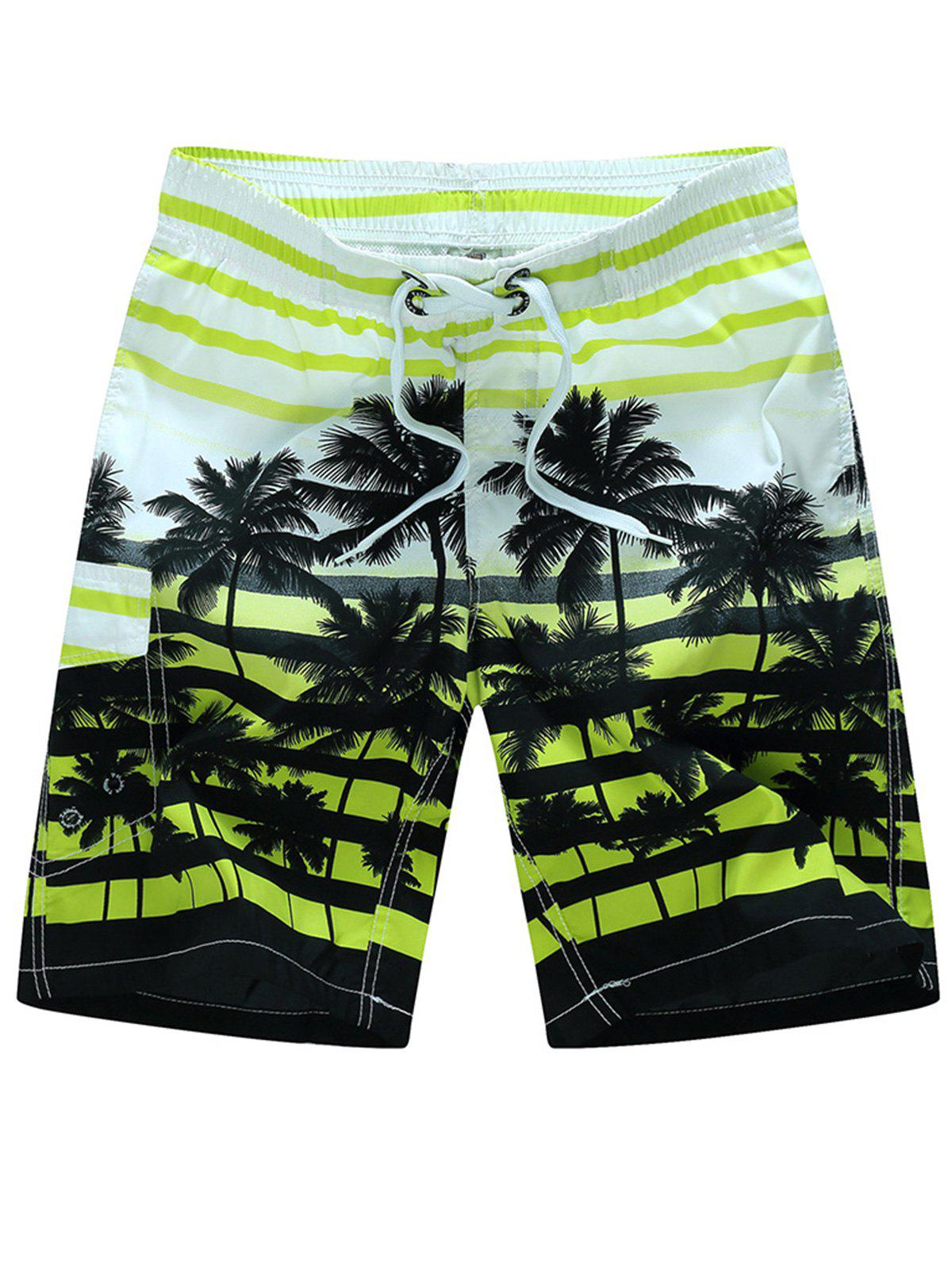 Plam Tree Striped Hawaiian Shorts - GRASS GREEN 3XL