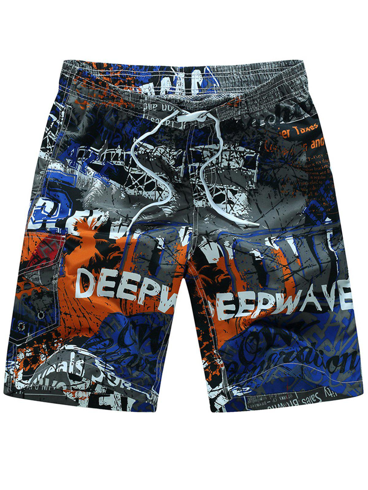 Drawstring Graphic Print Board Shorts - BLUE 4XL