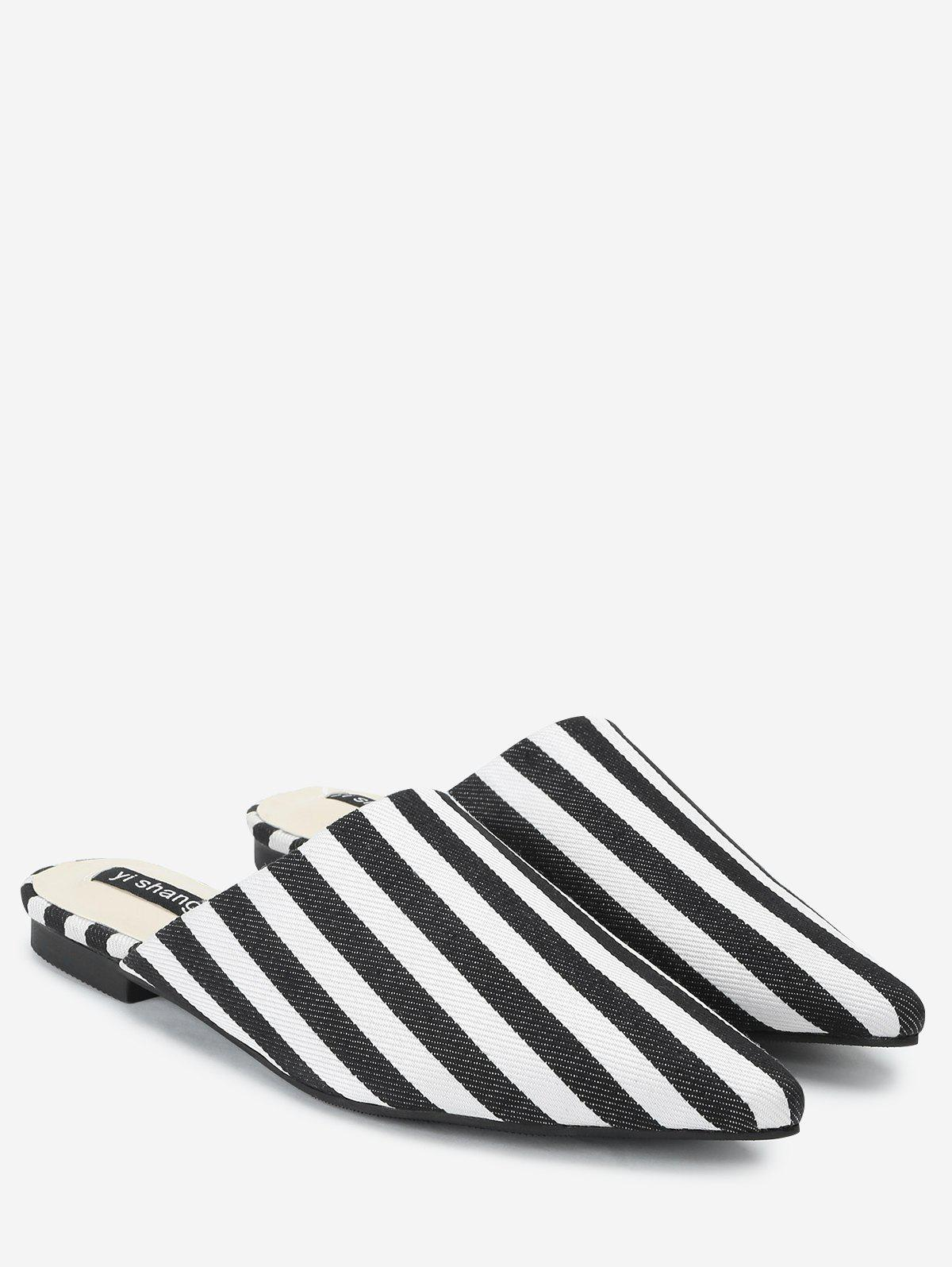 Striped Casual Mules Shoes - STRIPE 37