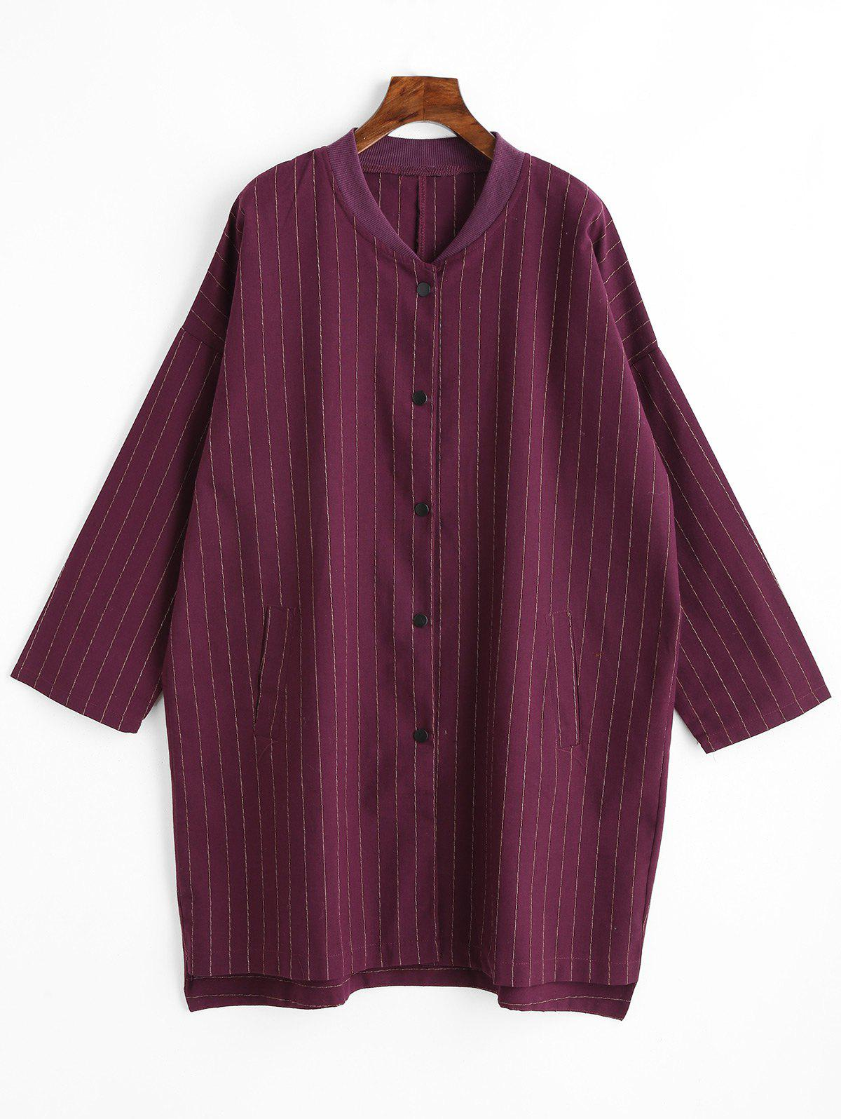 Striped Plus Size Button Up Coat - PURPLISH RED 3XL