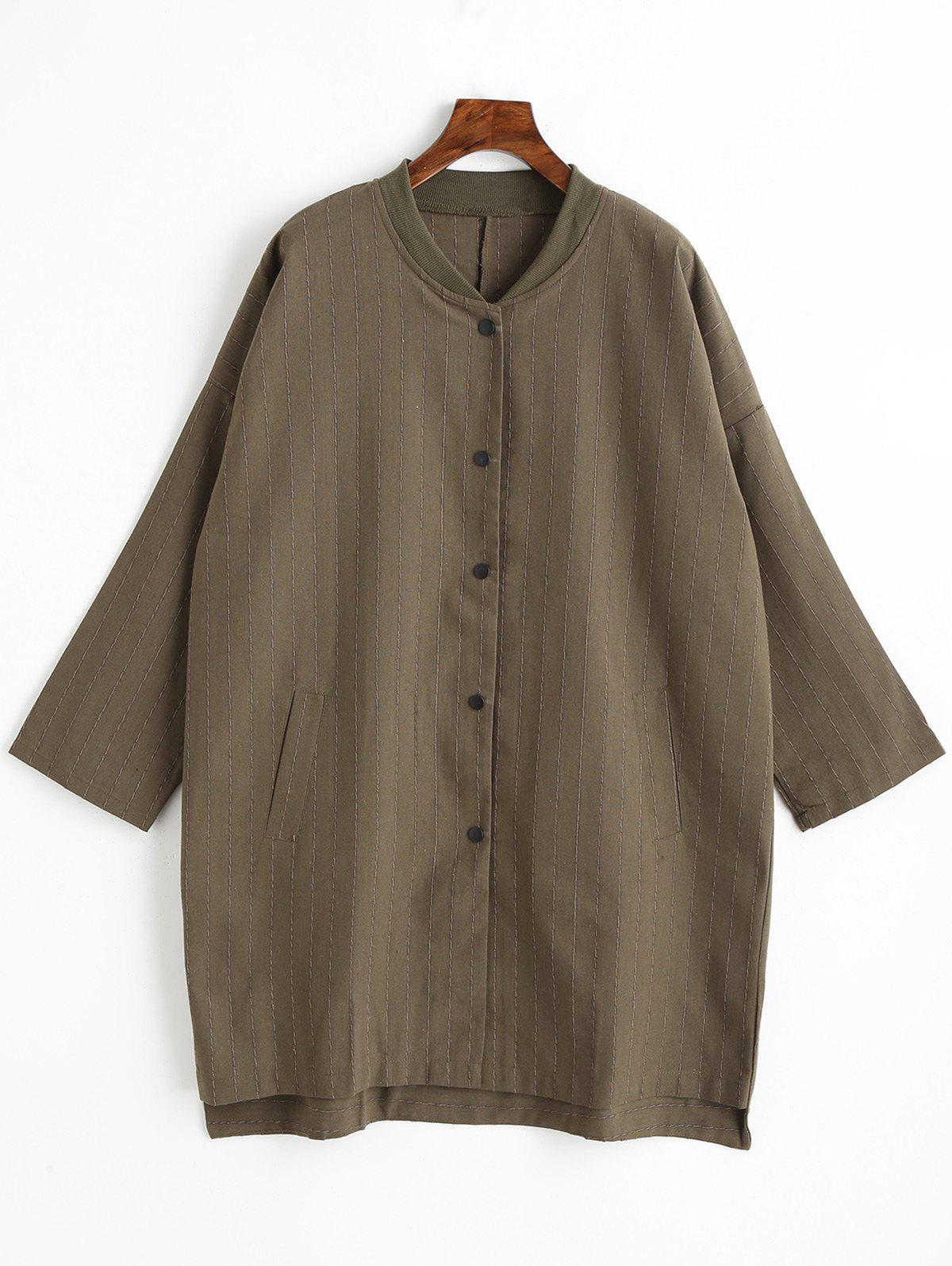 Striped Plus Size Button Up Coat - BROWN XL