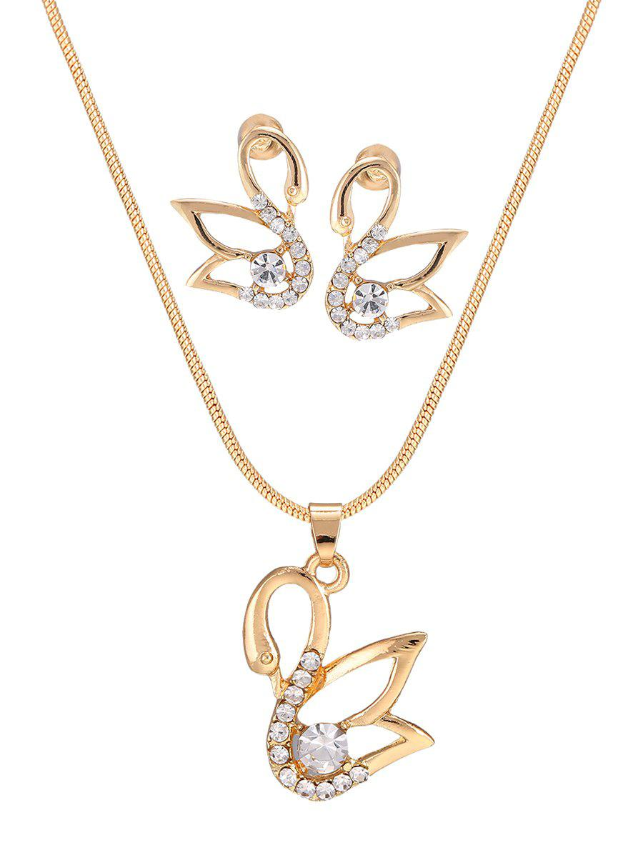 Image For Hollow Out Swan Diamante Pendant Necklace and Earrings Set