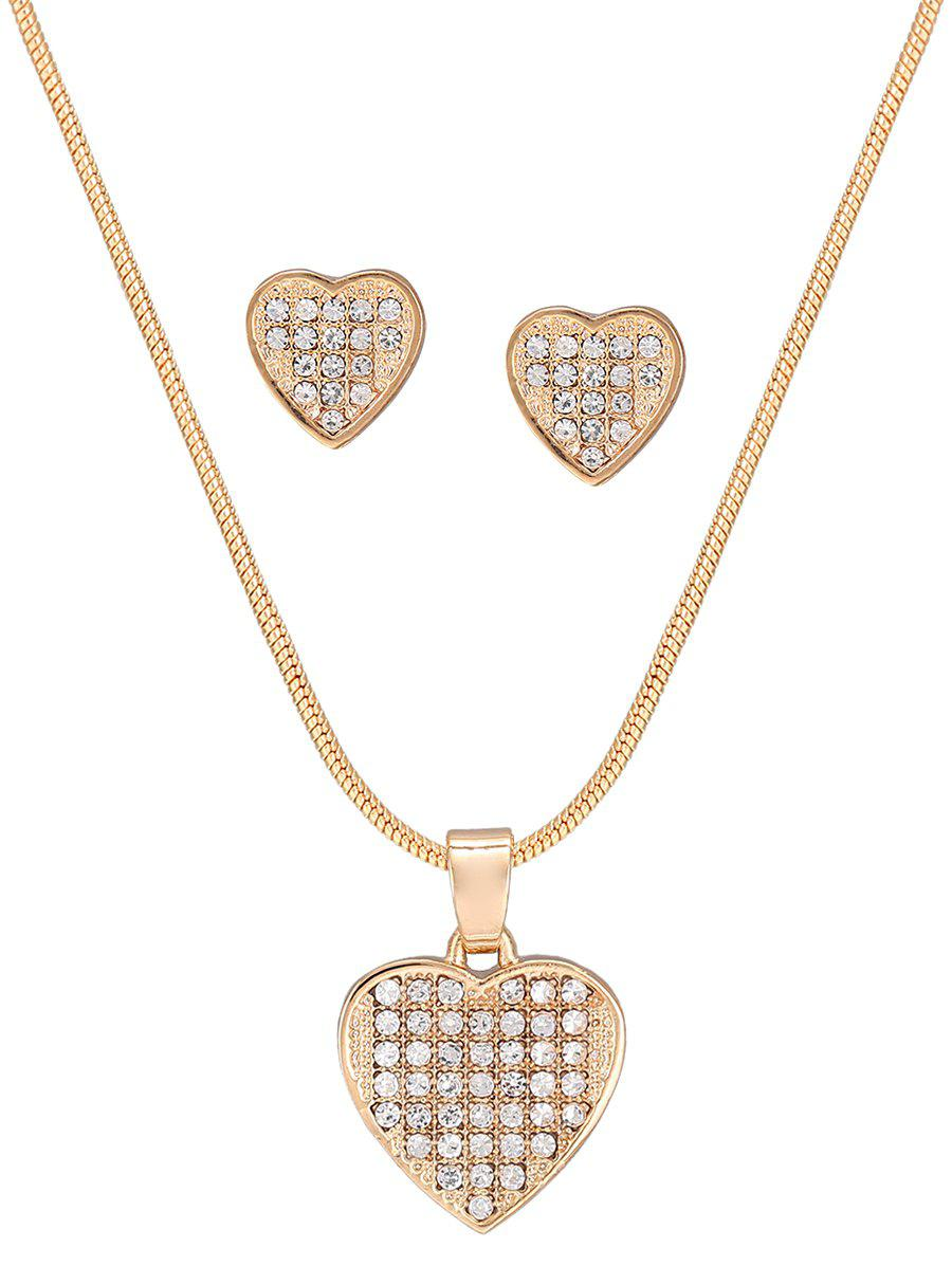 Image For Heart Shape Diamante Pendant Necklace and Earrings Set