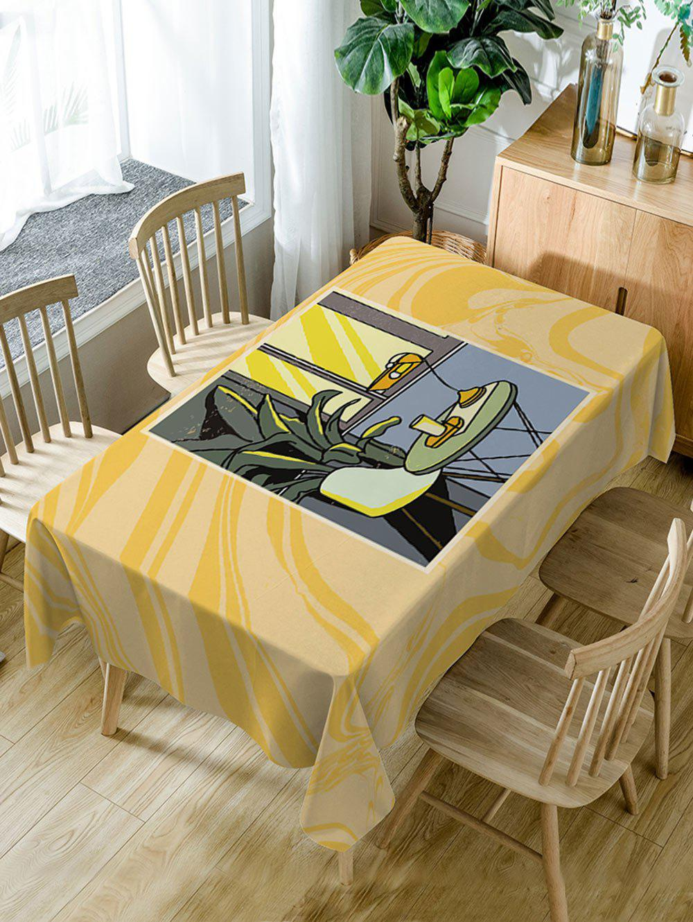 A Table Near Window Print Dining Tabel Cloth - YELLOW W60 INCH * L84 INCH